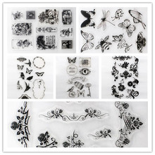 Flower Butterfly Cute Girl Design Transparent Stamp DIY Scrapbooking/Card Making/Christmas Decoration Supplies