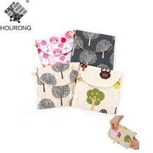 1Pcs Colorfu Women Sanitary Bag Brief Cotton Sanitary Towel Storage Bag Travel Bags Girl Bathroom Accessories Set(China)
