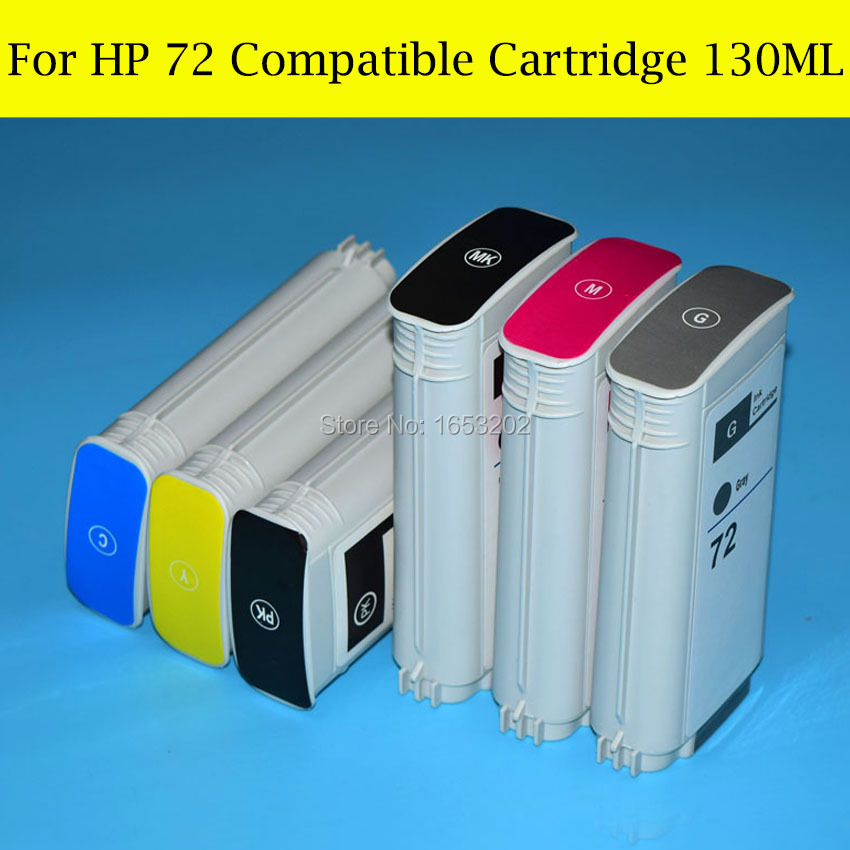 6 Color/Set Refill Full Ink Cartridge For HP T770 T790 T610 T620 T1300 T2300 Printer HP72 Ink Cartridge<br><br>Aliexpress
