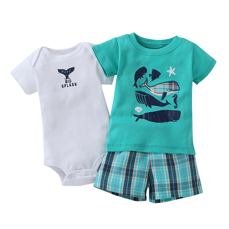 3pcs Baby Boys Sets Summer White Short Sleeves Bodysuits + Green Plaid  Shorts + Green Whale T-shirt Baby Boys Clothes Sets<br>