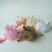 Multi Colors Mini Felt Glitter Lace Crown Headbands with Pretty Chiffon Flowers For Kids DIY Garments Hair Accessories