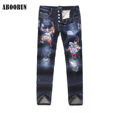 ABOORUN High Quality Mens Chinese Clown Printed Jeans Blue Skinny Ripped Straight fit Denim Pants A2054(China)