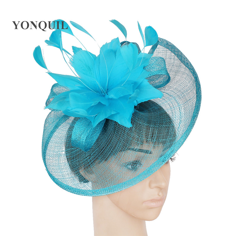NEW Sinamay hat fascinator hair accessories for wedding Cocktail 21 colors turquoise blue black gold  purple red grey royal blue