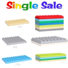 Classic Basics 4*8 8*8 6*12 Sets 32 64 dots Big Building Blocks Accessories Baseplate Compatible with Duplo Bricks Baby DIY Toys