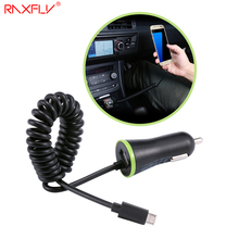 RAXFLY 5V/2.4A Dual USB Car Charger Micro USB Ports Android Mobile Phone Power Charging Adapter + Spring Wire Extendable Charger