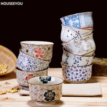 Korea Style Ceramic Bowl Millet Rice Bowl Restaurant Porringer Household Tableware Home Decorative Dining Accessories Supplies
