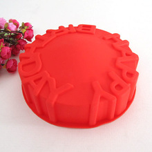 new silicone Happy Birthday Cake Mold large bread mould,cake pan kitchen tools
