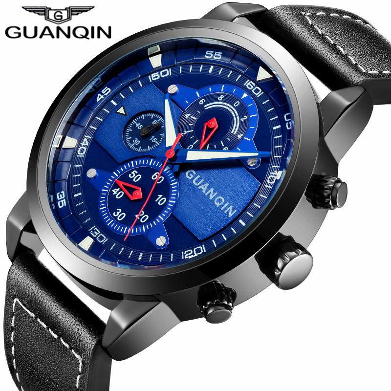 GUANQIN Brand Chronograph Big Dial Watches Classic Men Military Sport Leather Strap Waterproof Quartz Watch relogio masculino<br>