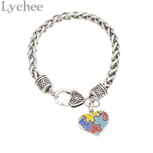 Lychee  Autism Awareness Bracelet Multi Color Puzzle Piece Heart Bracelet Jewelry for Men Women