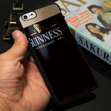 Guinness Beer Print Logo Black Phone Case for iPhone 5S 5 SE 5C 4 4S 6 6S 7 Plus Cover ( Soft TPU / Hard Plastic for Choice )