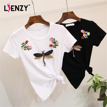 LIENZY 3D Floral Women T Shirt Diamond Dragonfly Casual Ladies Embroidered Tshirt White/Black Tops