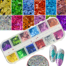12 Color/Set Colorful Laser Nail Flakes Rhombus Thin Stripe Designs Manicure Polish DIY Glitter Paillette Nail Art Sequin CHLW