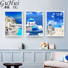 Nordic Blue Mediterranean Landscape Greece Aegean Sea Canvas Painting Home Wall Pictures For Living Room Restaurant Decor(China)