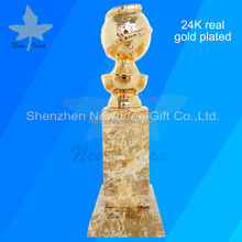 Trophy Awards Golden Metal Globe And Perpetual 24K Shipment Real-Gold-Plated Free-Dhl