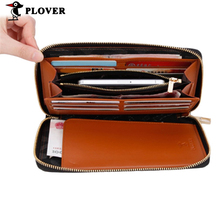 PLOVER Genuine Leather Men Wallets Men Handbag  Brand Cow Leather Long Luxcry Purse  Business Card Holder cellphone Wallet