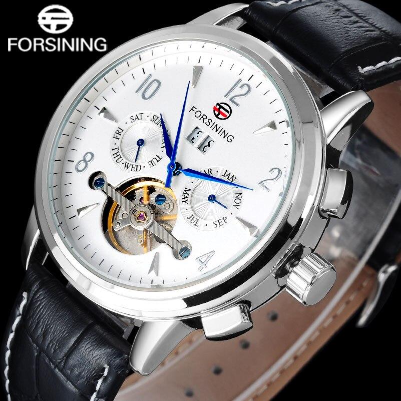 Forsining mens mechanical watch men tourbillon automatic wrist watches fashion male calendar clock black genuine leather band<br>