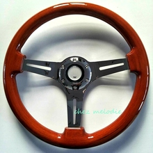 Handmade Universal 14'' 35cm vintage classic wood wooden bus racing car steering wheel with horn button, chromed spoke(China)