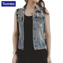 Women Jeans Vest Basic Jacket Vintage Female Street Wear Denim Waistcoat Summer Flayed Casual Coats Waistcoats Chalecos Mujer