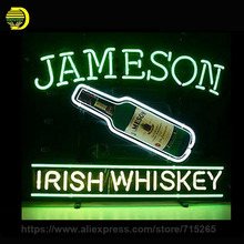 Jameson Irish Whiskey Neon Sign Decorate Room Real Glass Tube Neon Bulb Recreation Room Indoor Frame Sign Store Displays VD17x14(China)