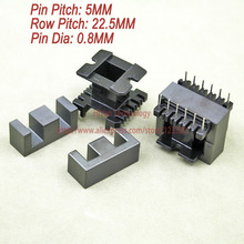 5sets/lot EE33 PC40 Ferrite Magnetic Core and 6 Pins + 6 Pins Top Entry Plastic Bobbin Customize Voltage Transformer