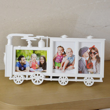 Creative small locomotive 3 frame 6 inch combination photo frame children's frame wall hanging studio