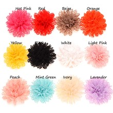 12PCS Eyelet Fabric flower hair bow Artificial Flower Bouquets  flower for headband  hair accessory No hairclip