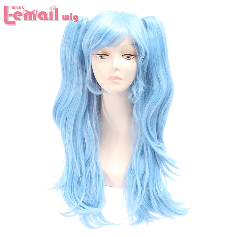Blue Long Wavy Wig Two Ponytail Hair Side Bange Synthetic Heat Resistant Cosplay Wigs<br><br>Aliexpress