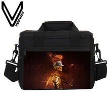 VEEVANV Brand 2017 Fire Skull 3D PU Prints Food Bags Men Fire Skull Image Lunch Box Fire Skull Small Lunch Picnic Bags for Women