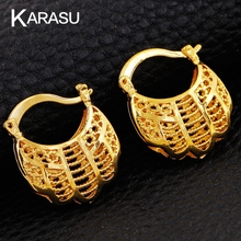 KARASU 2017 High Quality Copper With Gold Purses Hoop Earrings For Women Hollow Earrings Jewelry Christmas Gifts