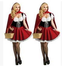free shipping Deluxe Little Red Riding Hood Ladies Fancy Dress Costume Womans Outfit Book week S M L XL 2XL 3XL