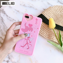 Meliid Stress Released Cute Cartoon Pink Leopard Phone Case For iPhone 6 7 6S Plus DIY Building Blocks Puzzle Back Cover Case