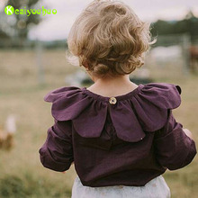 KEAIYOUHUO Children T-shirt 2017 Spring Petals Collar Ruffle Tops &Tees Baby Girl T-shirt Kids Long Sleeve t shirt Girls Clothes