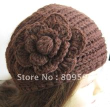 Coffee Handmade Women's Solid Knit Flower Headwrap Lady Crochet Headband