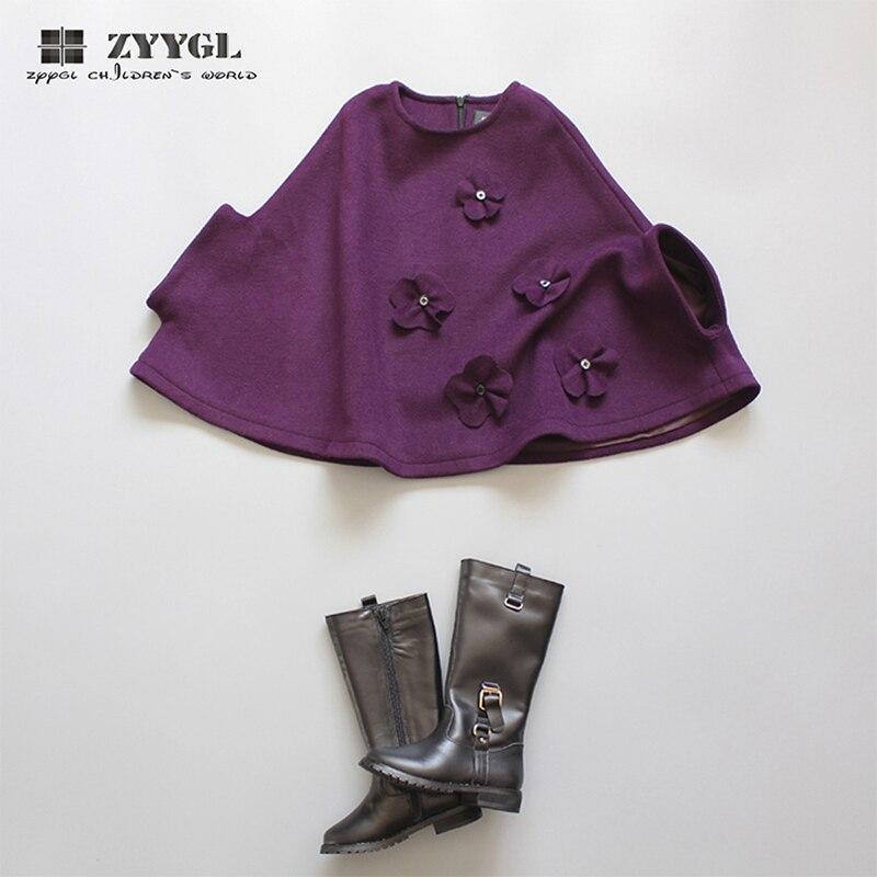 ZYYGL 2017 new children clothing Hand sewn winter woollen coat Cashmere coat bat cloak girls clothes baby girl coat sleeveless<br>