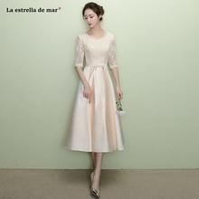 Vestidos de madrinha2018 new lace and satin Half sleeves a Line champagne bridesmaid  dresses Tea Length 4fdb96a45d65