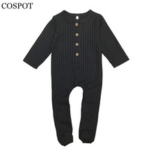COSPOT Baby Boys Girls Jumpsuit with Footies Newborn Autumn Plain Black Red Pajamas Infant Baby Cotton Jumpsuit 2017 New 15C