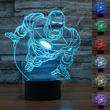 New Colourful Iron Man 3D Table Lamp Luminaria LED Night Lights Kids Children's room Decorative lighting great gift for kids(China)