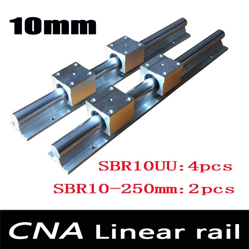 2pcs SBR10 L 250mm linear rail support with 4pcs SBR10UU linear guide auminum bearing sliding block cnc parts<br>