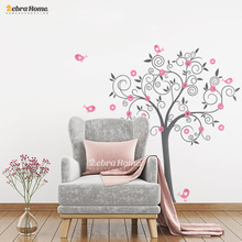 Birds Flowers Art Vinyl Tree Wall Stickers For Kids Room Home Decor DIY Child Wall Christmas Decals Nursery Baby Room Decoration