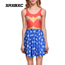 NEW 1228 Sexy Girl Women Summer Comic Wonder Woman 3D Prints Reversible Sleeveless Skater Pleated Dress Plus size(China)