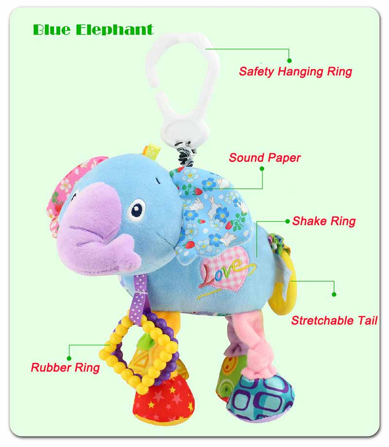 35*22CM Musical Cute Rattles Bed Crib Stroller Kids Stuffed Doll Vibrator Dog Hand Bell Shake RingToy With Teether D012 24
