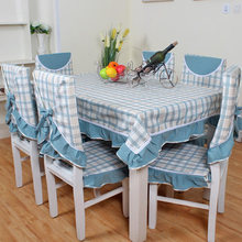 New arrival green fashion plaid table cloth dining chair cushion seat cover green table cloth pastoral cloth suit