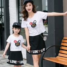 Hot family clothing matching mother daughter dresses family look family set clothes for mother and daughter cotton letter set XL