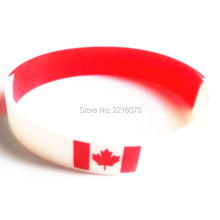 300pcs Red and white segment Flag Canada wristband silicone bracelets free shipping by DHL express(China)