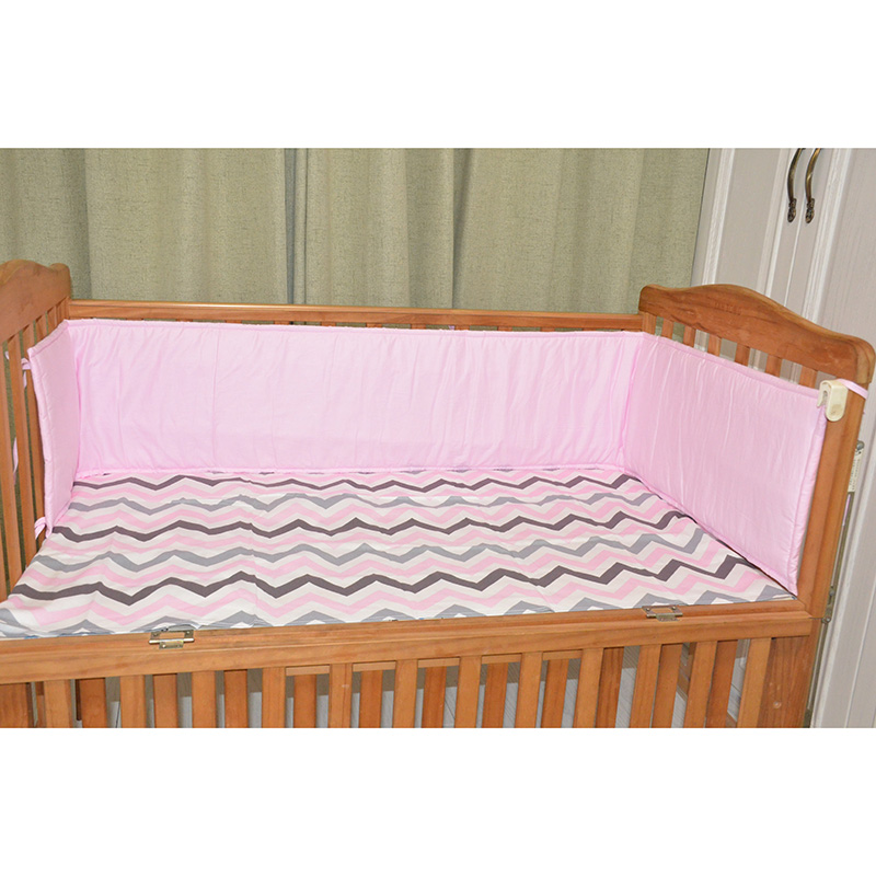 Breathable Cotton Linen Baby Crib Bumpers Newborn Infant Cot Protector 200cm Length