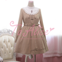 2016 Spring Cute Girls Vintage Violin Embrodiery Letters Long Sleeve Stand Round Collar Dress Lolita Music Note Dress Waist Belt
