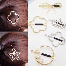 Gilr Hairpin Vintage Metal Crown Bowknot Four-leaf Grass Flower Star Hair Clip(China)