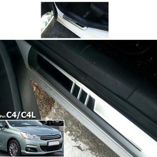 FIT FOR 2011 2012 2013 2014 Chrome CITROEN C4 C4 L Stainless Door Scuff Sill Plates Cover Trim Chrome Molding 2015 2016 Styling(China)