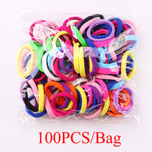100PCS/Lot 4.0 CM Women Colorful Elastic Hair Bands Scrunchies Headbands Ponytail Holder Hair Accessories Rubber Band(China)