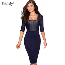 Top Sale Dark Blue Dress Square Neck Pencil Dresses Bodycon Elegant Womens Clothing 3/4 Sleeve 2017 Knee Length Mother Dress(China)